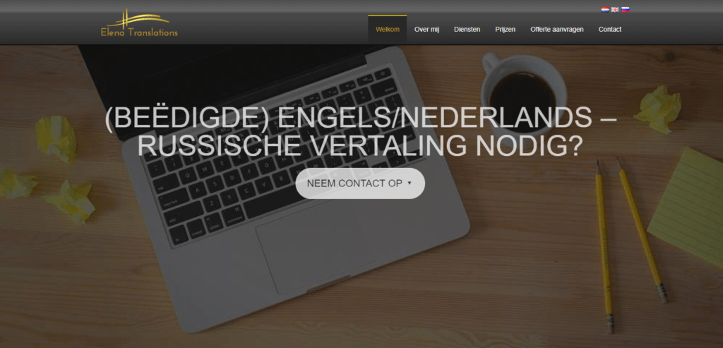 Editing and translation of website content from English into Dutch