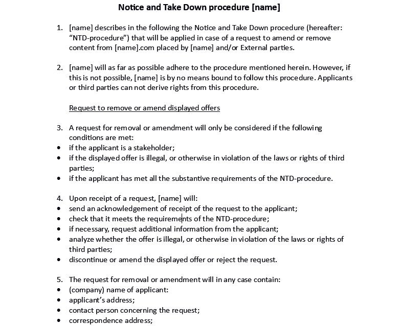 Translation juridical document Dutch into English: Notice of Take Down