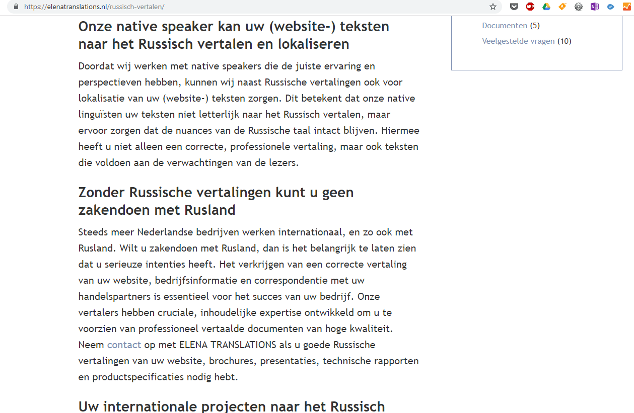 Elena Translations Vertaling Nederlands naar Russisch en vice versa_ Website Content SEO Writing