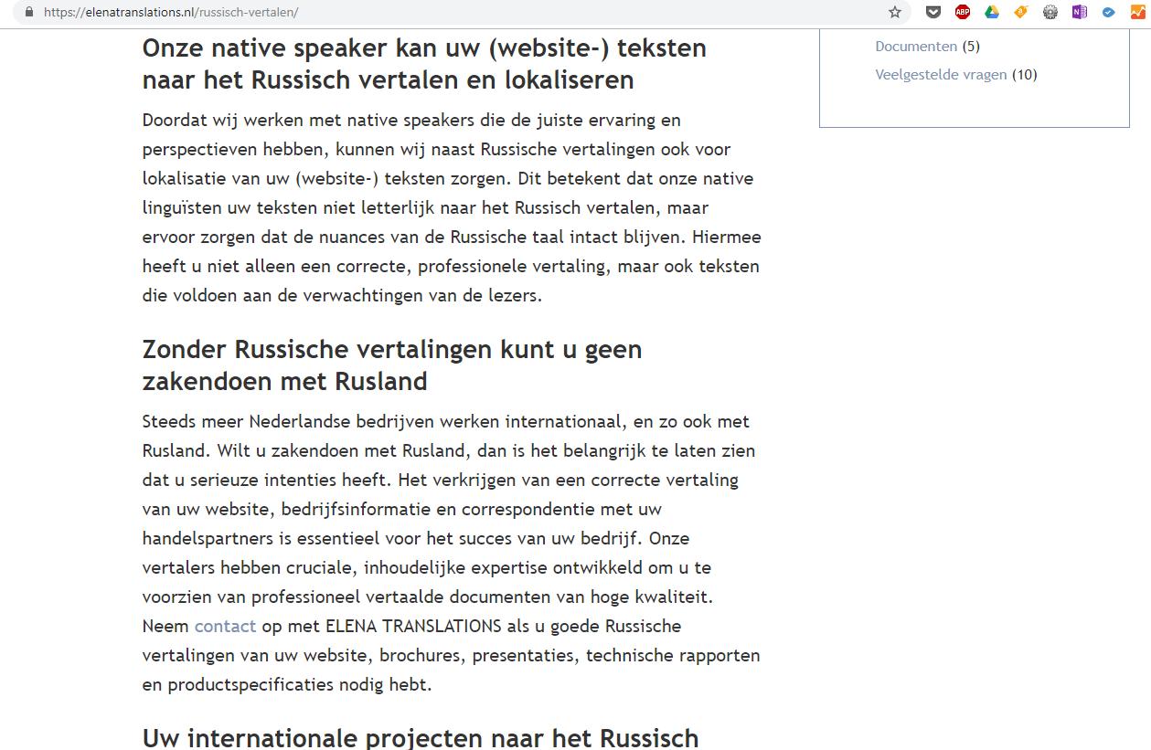 Elena Translations Vertaling Nederlands naar Russisch en vice versa_ Website Content SEO Writing