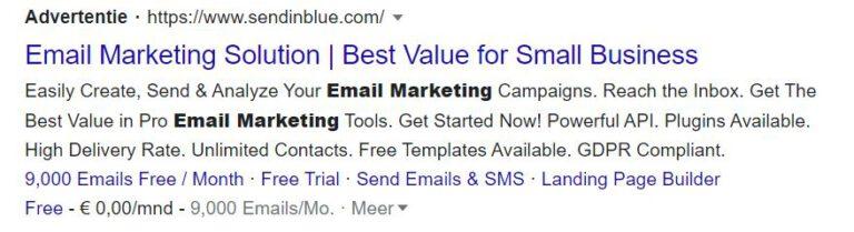 landingspagina advertentie voor email conversie voorbeeld - MarsConnects